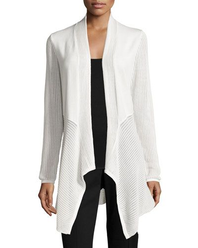 Joan Vass New York Pointelle Drape-Front Cardigan, White New offer ...