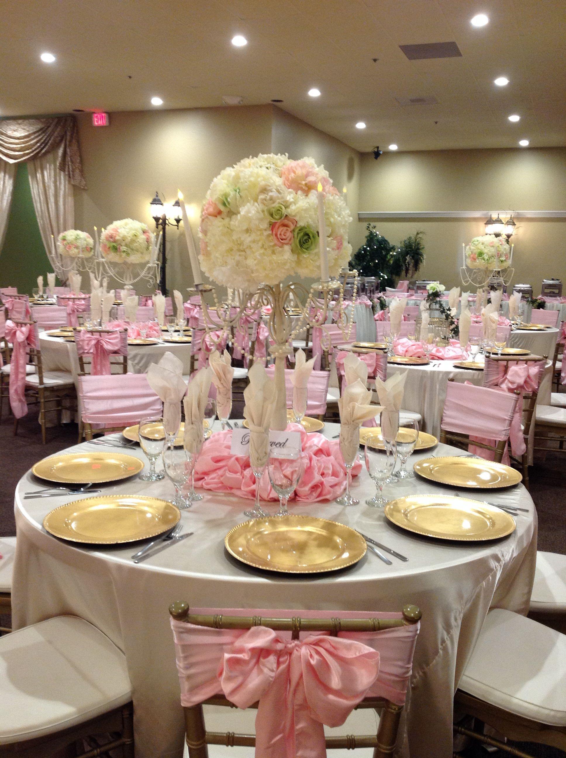Light Pink And Champaign Wedding Decor Villa Tuscana