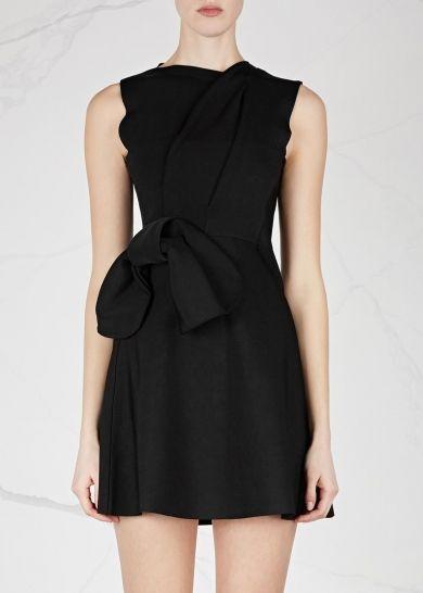 4da4121f6 Victoria, Victoria Beckham black stretch viscose blend mini dress Faintly  ribbed, pleated at shoulder