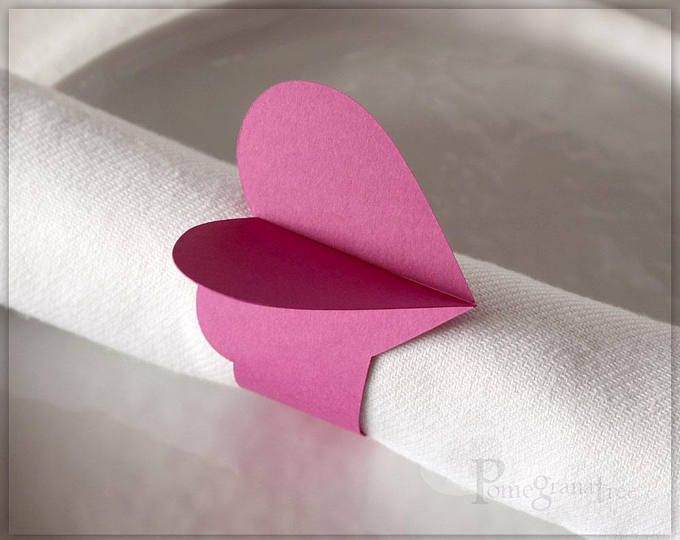 Flamingo Pink Heart Paper Napkin Rings Party Decorations Set of 10 Valentine's Day Wedding Decor Romantic Table Decor Pink Napkin Rings HT11 #papernapkins