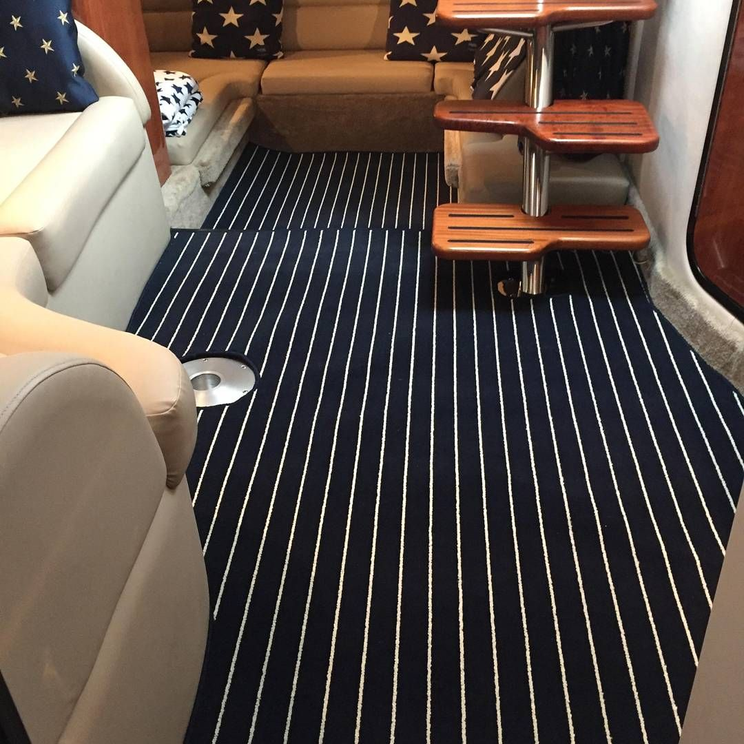 090 Navy Cream Teak Carpet Fitted To A Cabin Of A Customers Boat Teakcarpet Boatcarpet Marinecarpet Marinecarpet Boat Carpet Carpet Fitting Teak