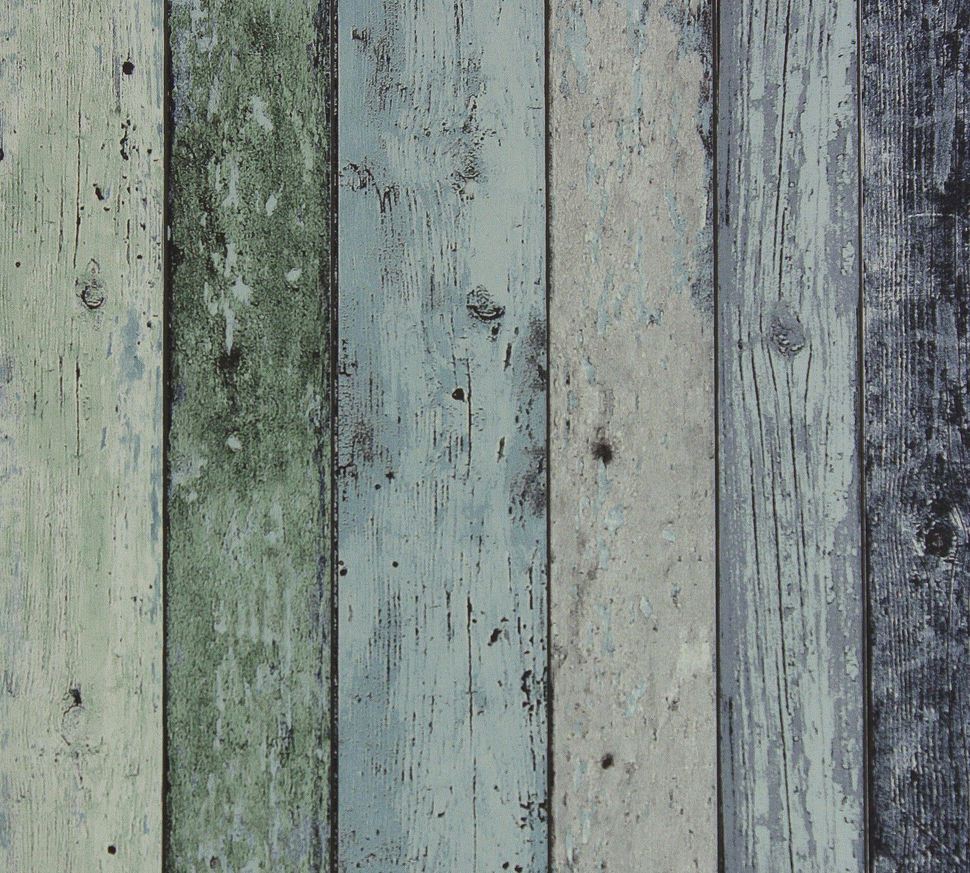 Steigerhout Vliesbehang Antiek Groen  Blauw bij Behangwebshop   Overige dingen die ik leuk vind