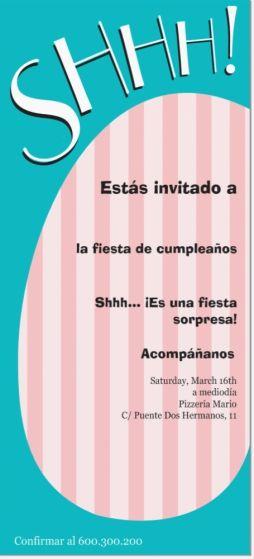 Invitaciones Fiesta Sorpresa Buscar Con Google Fiesta