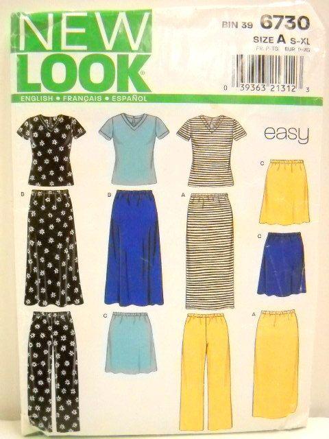 Designed For Knit Fabrics New Look Pattern 6730 Un Cut Womens Skirt