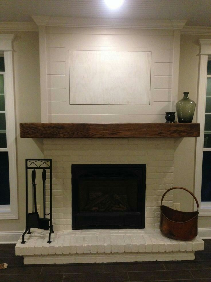 Fireplace Mantles Shiplap Painted Brick