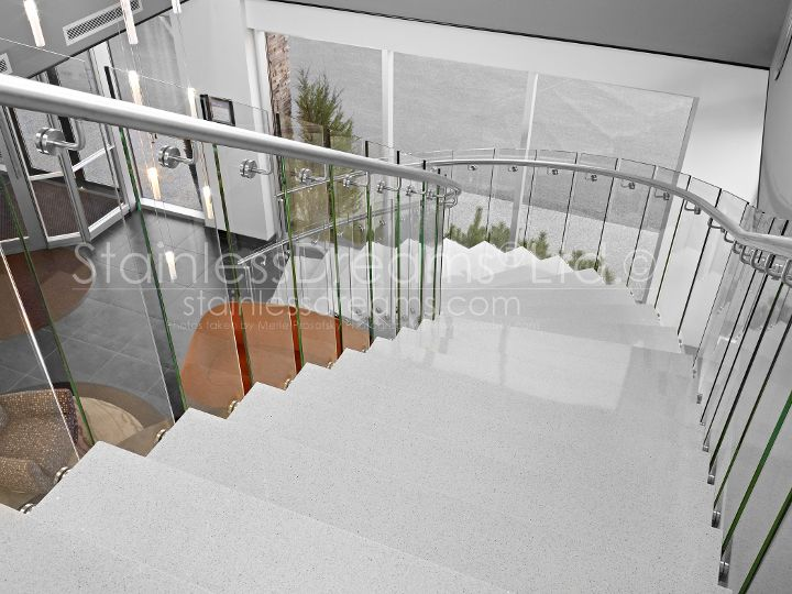 Best Curved Stair With Glass Railing And Granite Treads 400 x 300