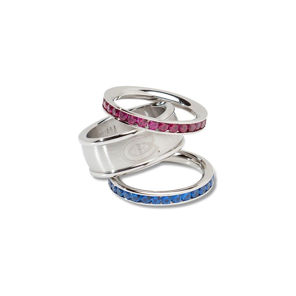 Montreal canadiens team logo crystal stacked ring set size