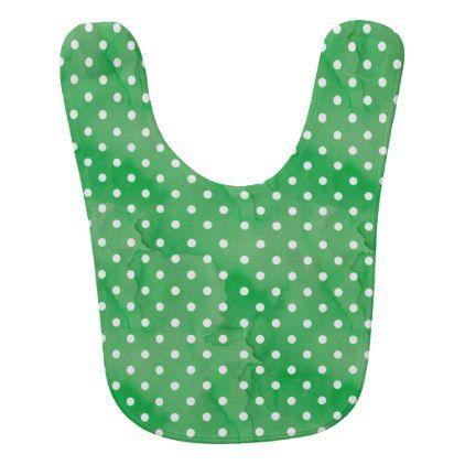 #girly - #Polka Dots Pattern Green White Baby Bib
