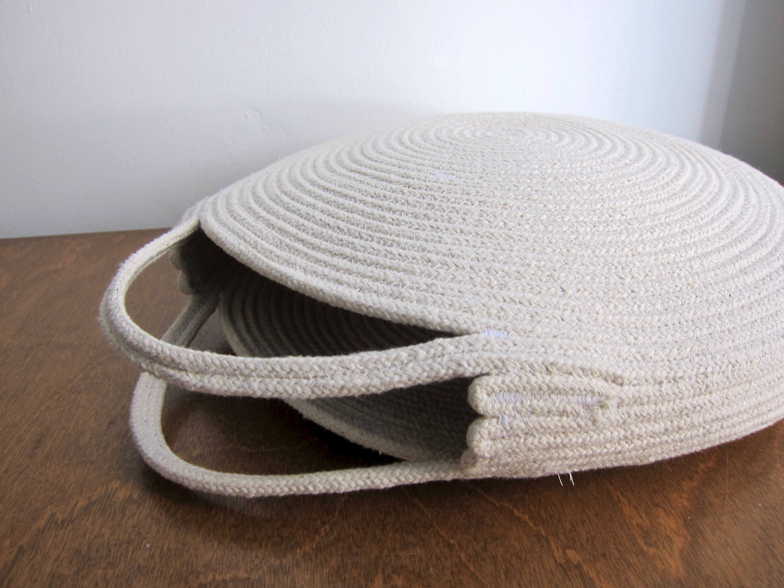 Round White Basket Bag Round Circle Purse