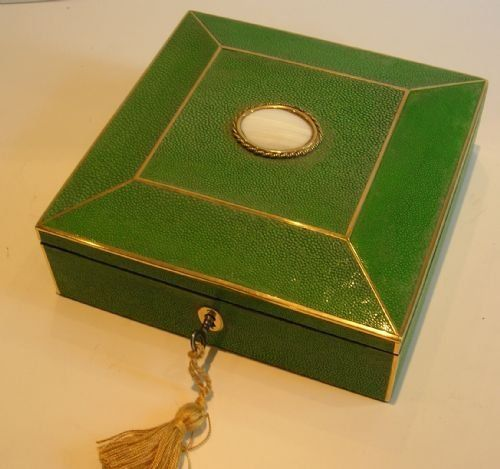 Antique English Shagreen Jewelry Box C1870 Antique Desk