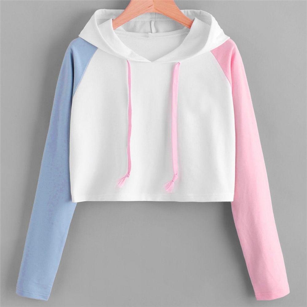 Womens Cat Crop Top Teen Girls Cropped Pink Hoodie Sweater Jacket Sweatshirt Jumper Pullover Tops