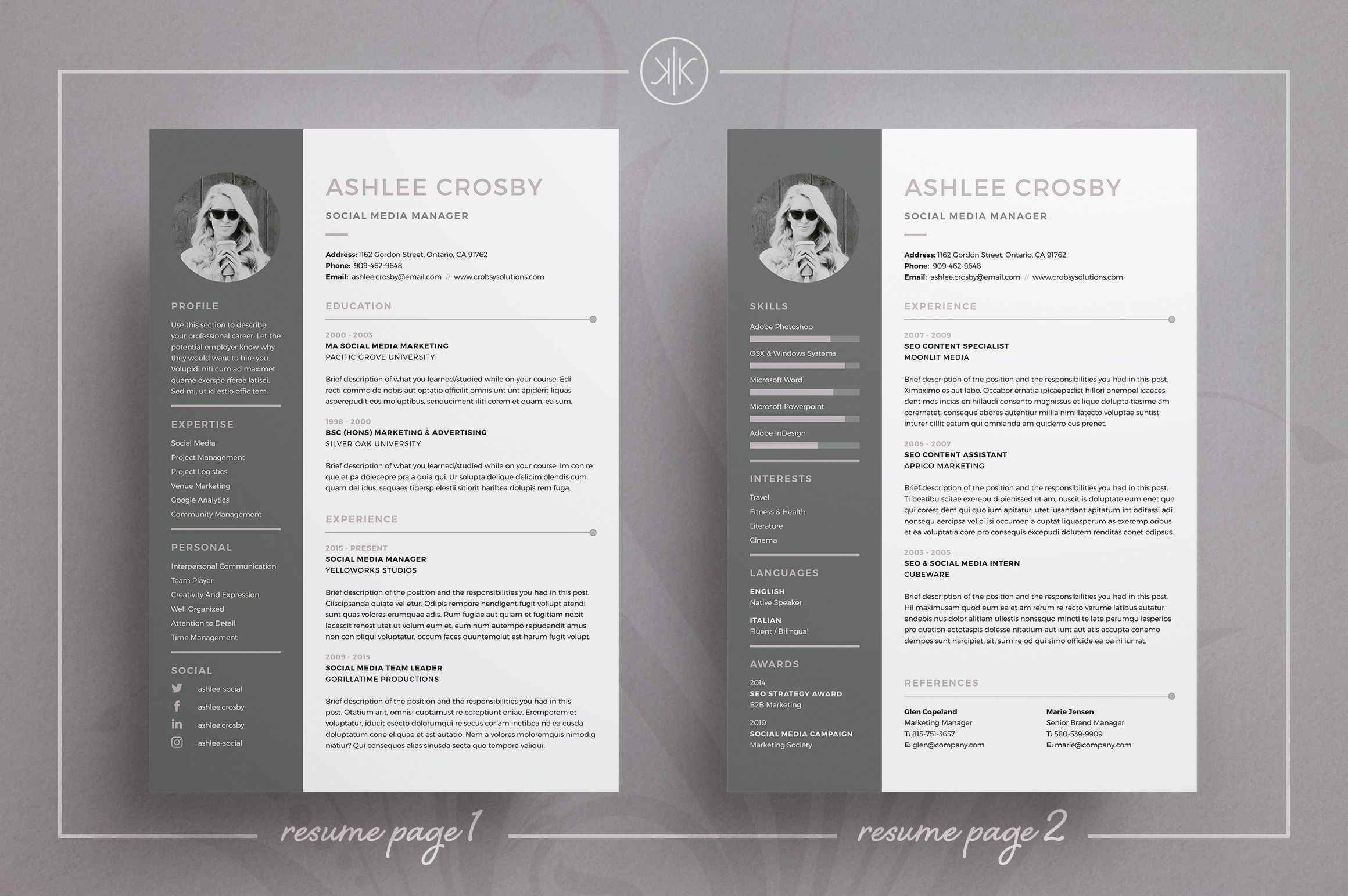 Resume Template Indesign 2 Page Resumecv  Professional Resume Template  Cv Template