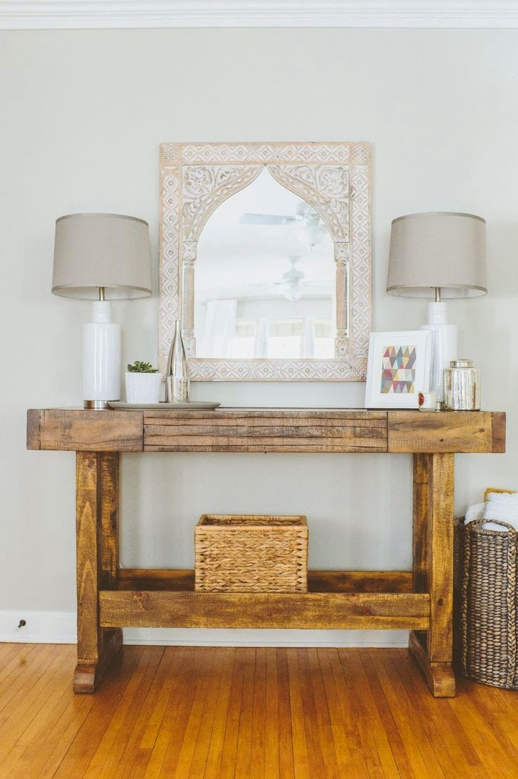 entryway table with mirror. Rustic Entry Table Paired With A Pretty Mosaic Mirror Entryway