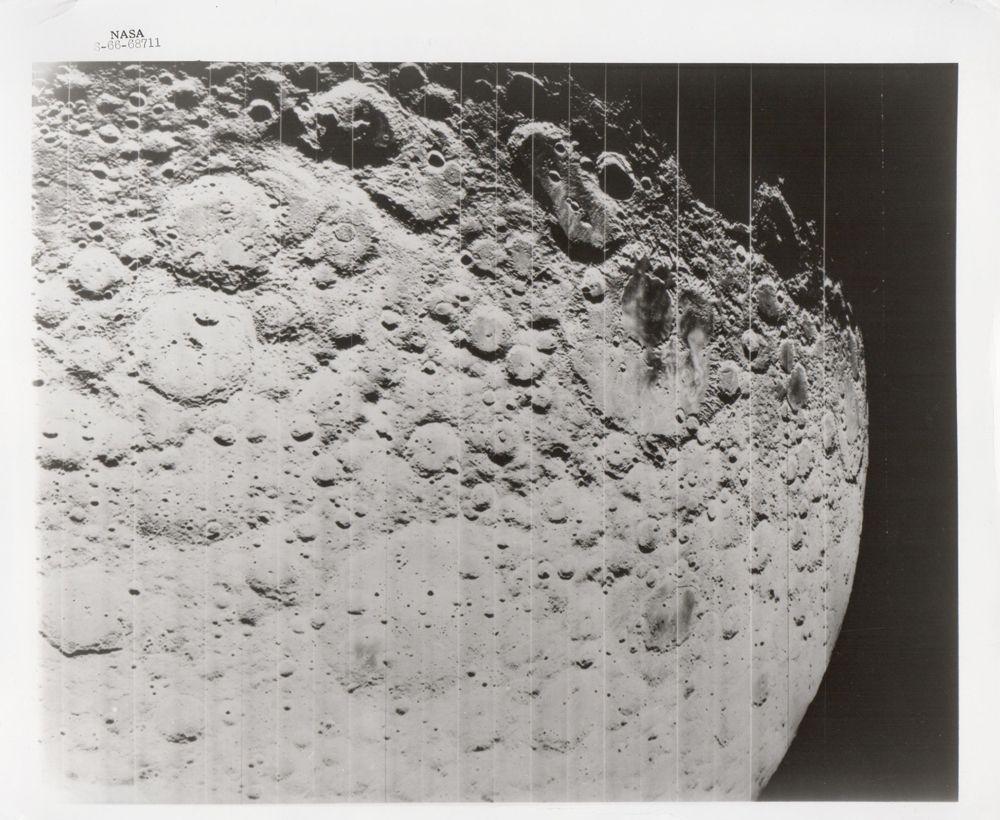 Lunar surface and horizon, Lunar Orbiter II, November 1966