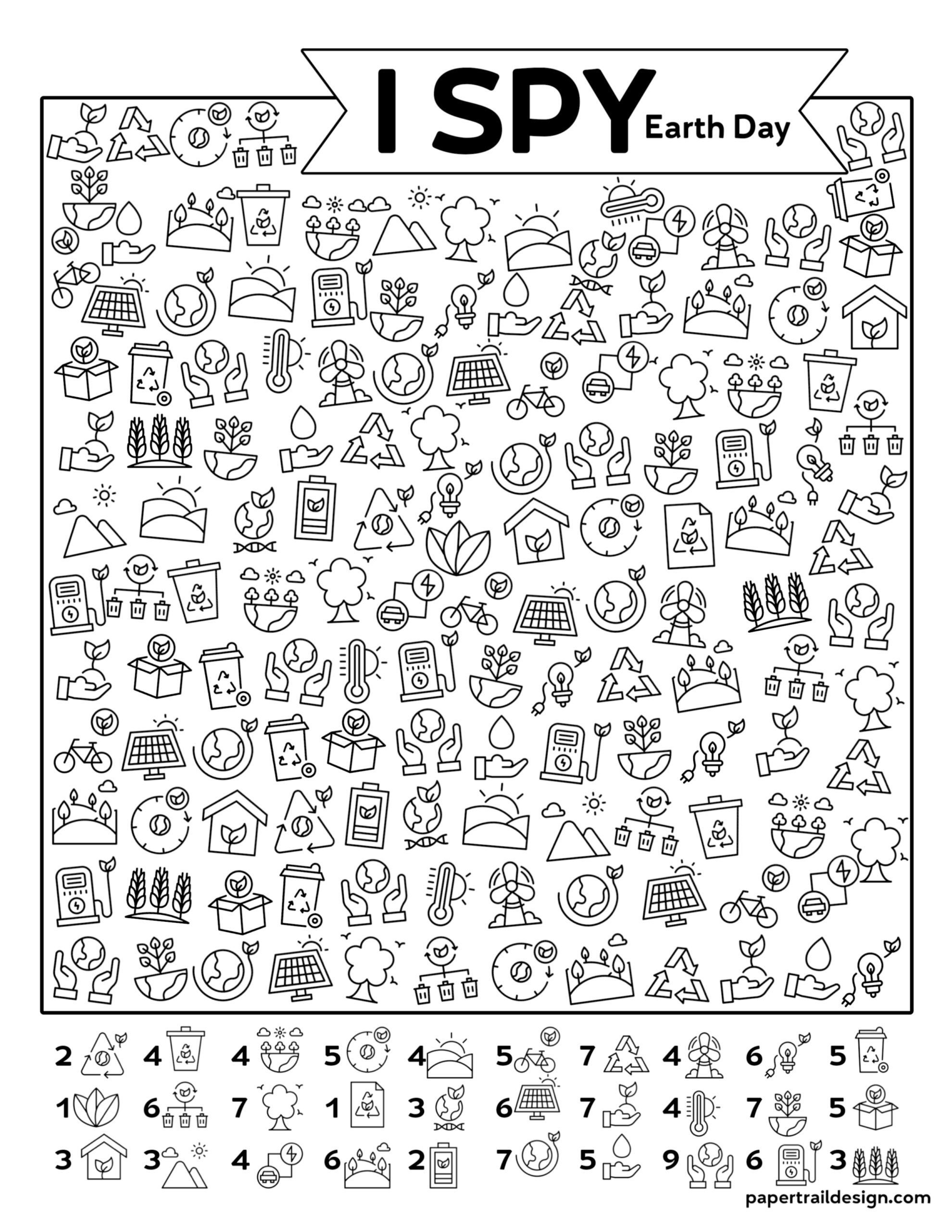 Free Printable I Spy Earth Day Activity Paper Trail Design In 2021 Earth Day Activities Earth Day Projects Earth Day Coloring Pages [ 2562 x 1980 Pixel ]