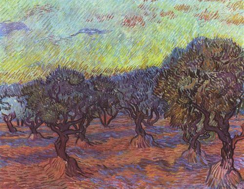Landschaftsmalerei impressionismus  Vincent Willem van Gogh. Olivenhain. 1889, Öl auf Leinwand, 74 ...