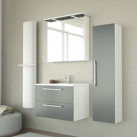 Albero Design Milano LED Spiegelschrank, grau glänzend - 61 x 72cm - badezimmer spiegelschrank led