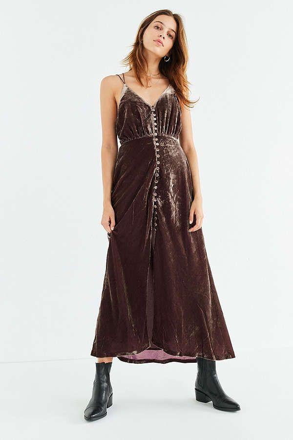 6120eddf0335 Slide View: 6: UO Lady Lava Covered Button-Down Velvet Midi Dress ...