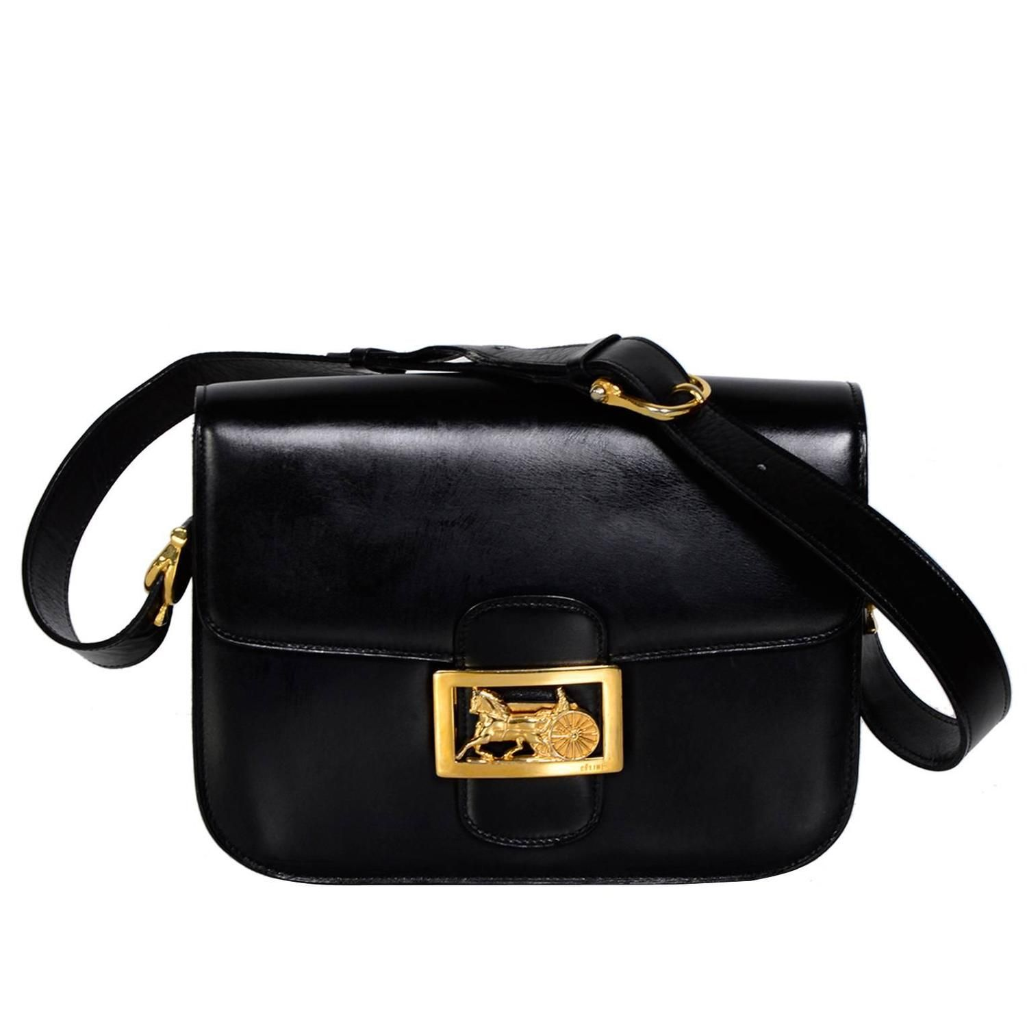 CELINE Vintage Horse Carriage Buckle Black Box Leather Shoulder Bag   From a  collection of rare c551c5f1a14