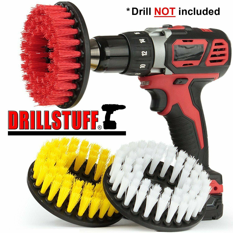 3pc carpet mat 5 round brush wpower drill attachment car