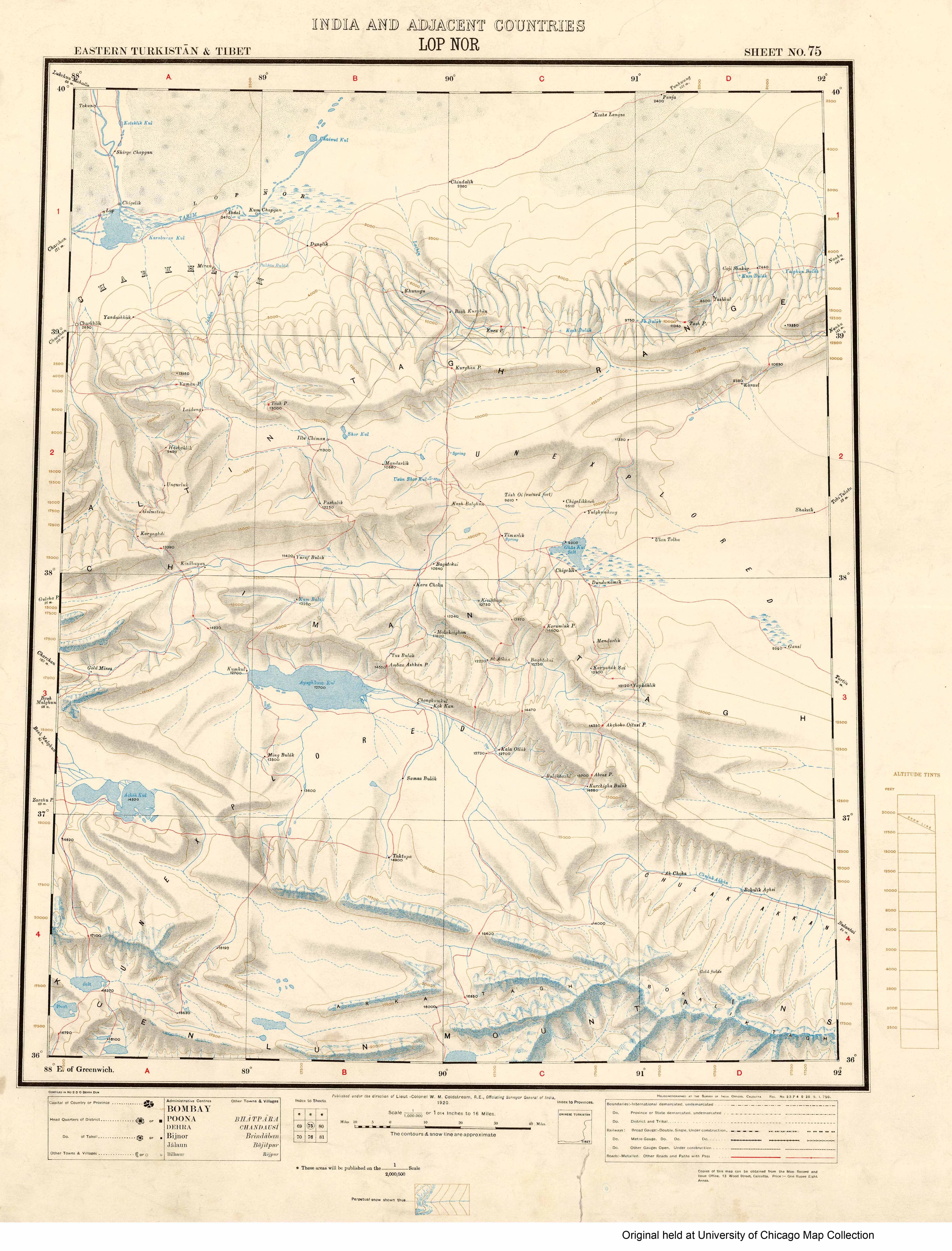 Map of Lop Nor (Taklamakan Desert) - India and its adjacent ... Taklimakan Desert Map on