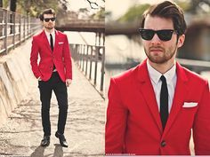 Men's Red Suit with Black Pants
