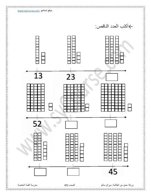 الصف الأول, الفصل الثاني, 3 اوراق عمل بعنوان (اكتب العدد