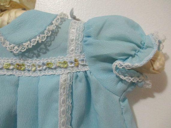 Vintage handmade pleated baby blue Spring by BlackOrchidVintage