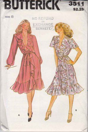Butterick Sewing Pattern 3511 Misses Size 8 Front Wrap Dress Ruffles ...