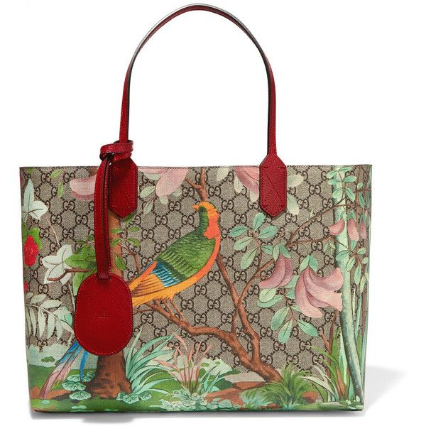 ca3e7d4a730 Gucci Linea A medium leather-trimmed printed coated canvas tote ...