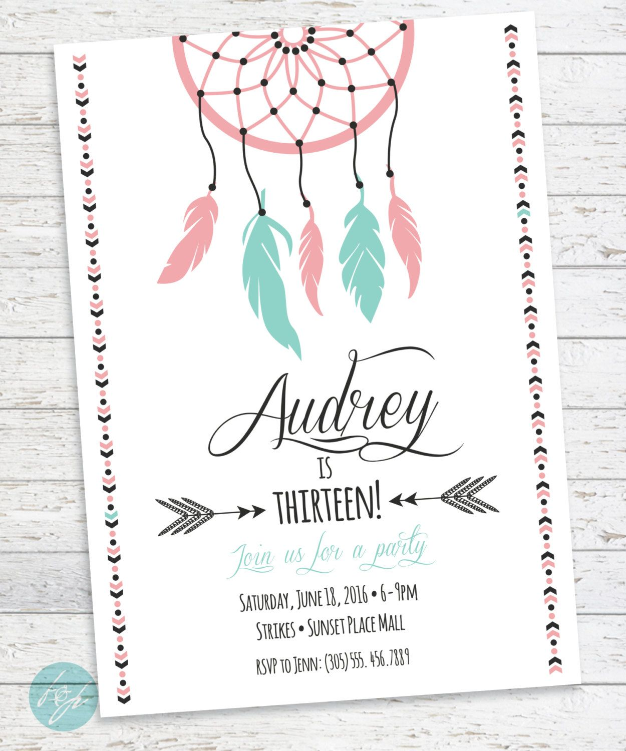 Boho Birthday Invitation Aztec Tribal Bohemian Printable Dream Catcher Sweet 16 Teen Tween By FlairandPaper On