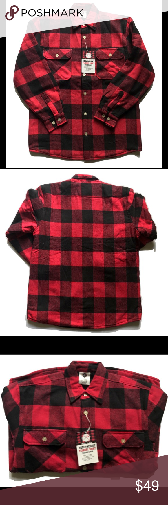 Fleece vs flannel  Rothco Mens Fleece Flannel Shirt Red u Black Plaid NWT  My Posh