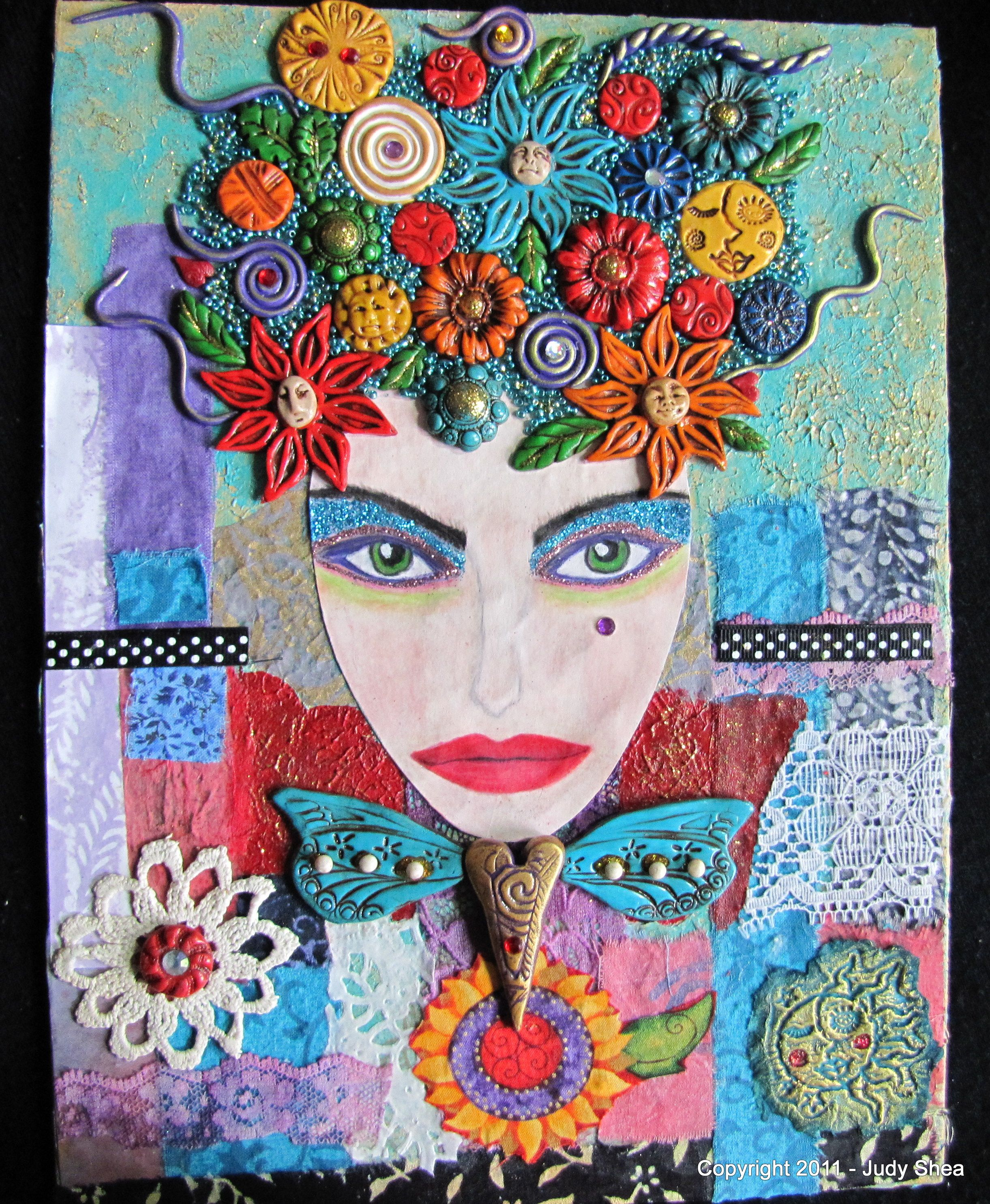 Collage with polymer clay, fabric, paper, paint and other fun embellishments