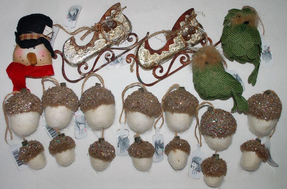 Jingle Bell Lane NEW Lot of 12 Ornaments Christmas Winter Holiday Large Owl Sled #JingleBellLaneBoscovs