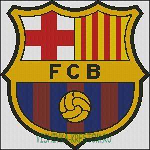 Вышивка крестом эмблема футбольного клуба барселона