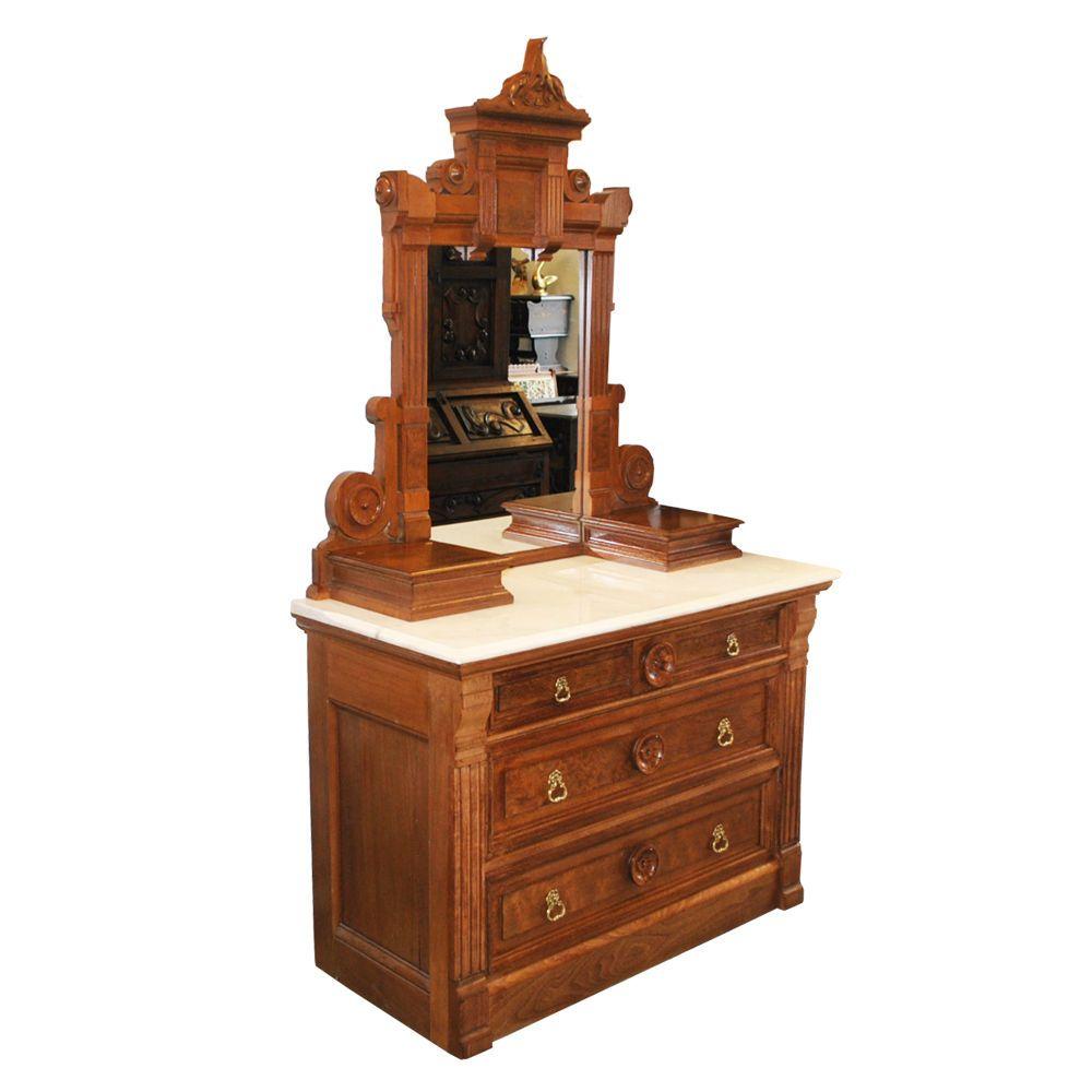 Antique 1890 S Walnut Eastlake Victorian Marble Top Dresser With Mirror