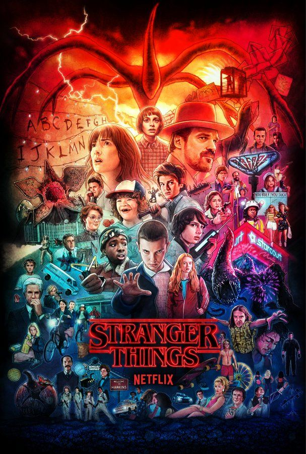 ʎɐp sƃuᴉɥʇ ɹǝƃuɐɹʇs ʎddɐɥ Stranger things poster