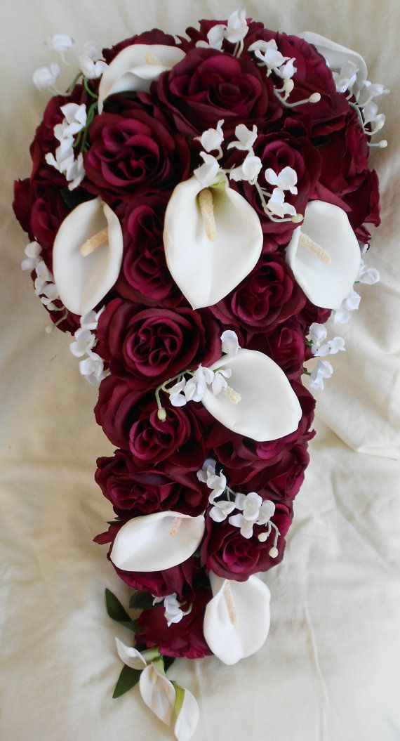 Silk Cascade burgundy and white bridal bouquet roses ,calla