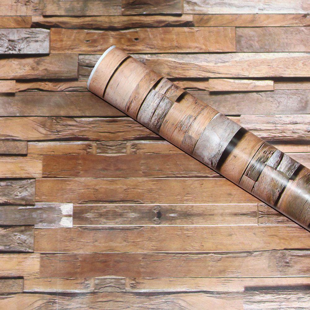 Wood Peel Stick Wallpaper Plank Brown Grey Black Self Adhesive Contact Paper Haokhomewallpaper Vintageretro Wood Wallpaper Wood Reclaimed Barn Wood Wall