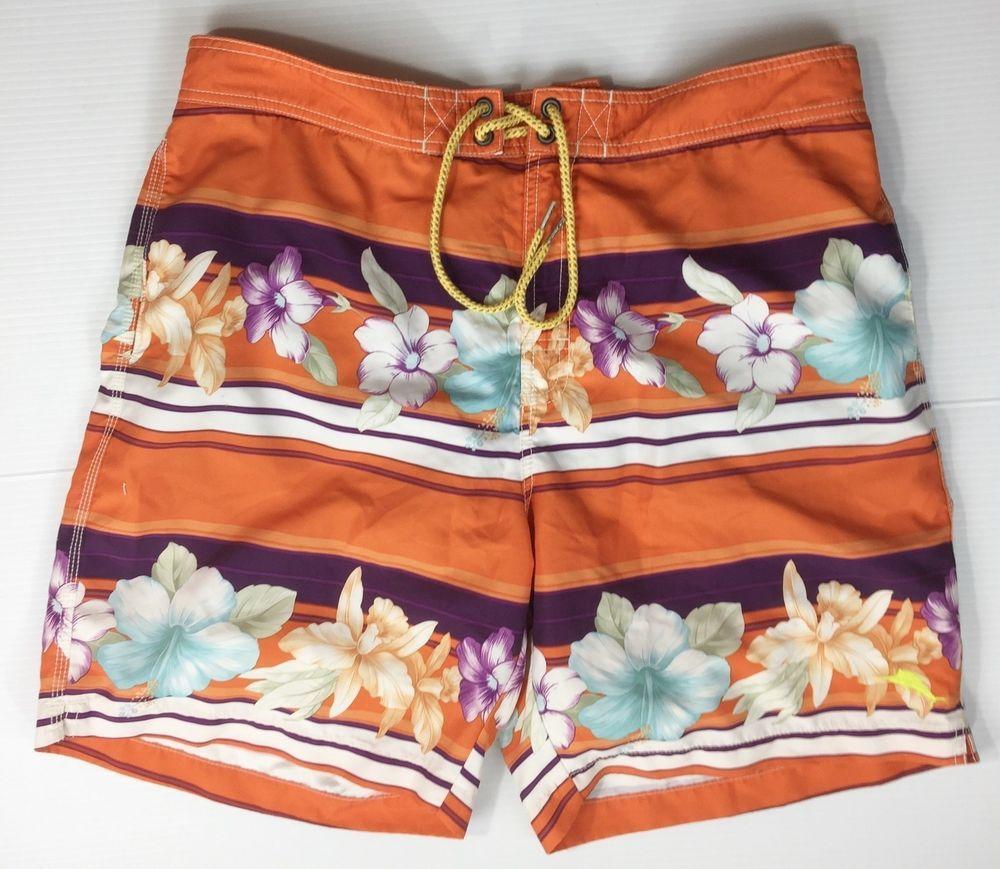 274e8c22ea Tommy Bahama Relax Mens Large Board Orange Floral Short Swimming Trunks # TommyBahama #BoardShorts