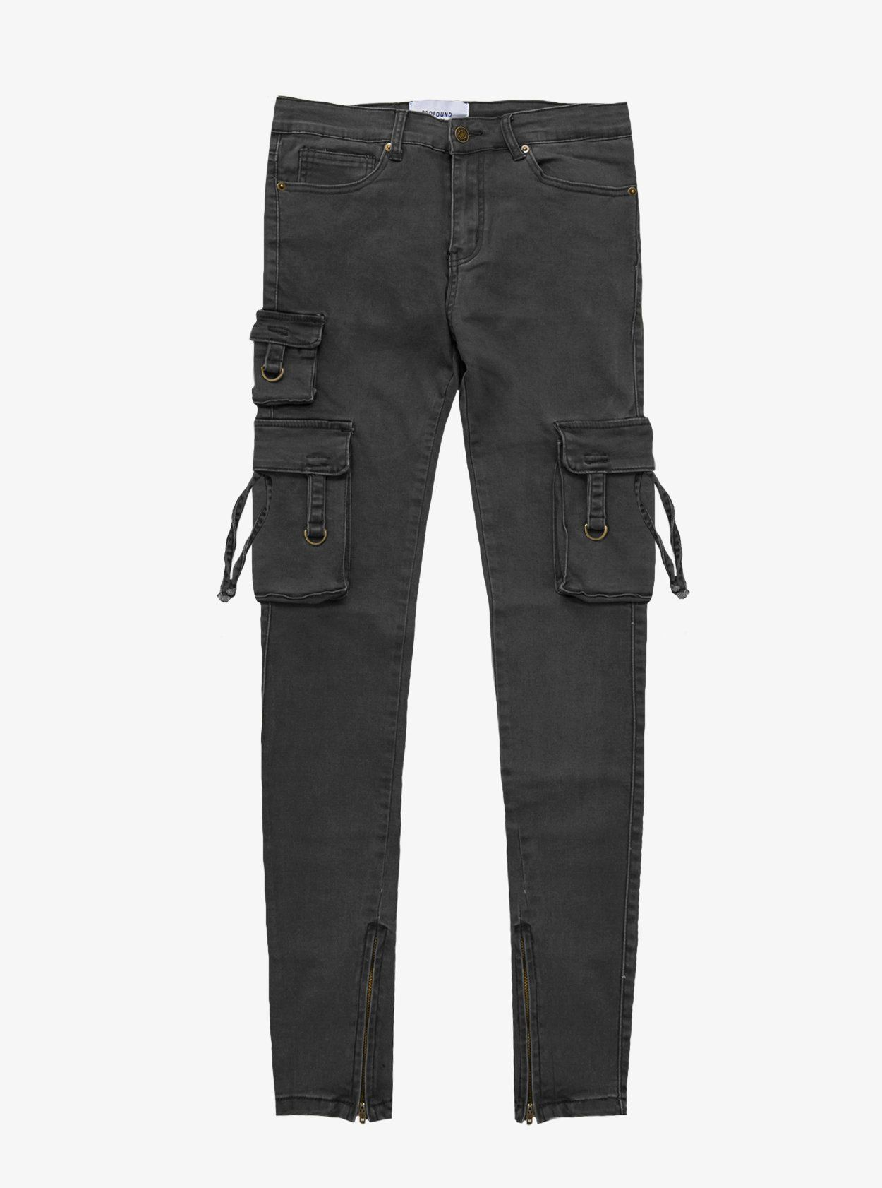 f1a674ea7 Faded black wash d ring cargo pocket skinny fit denim jeans by profound  aesthetic