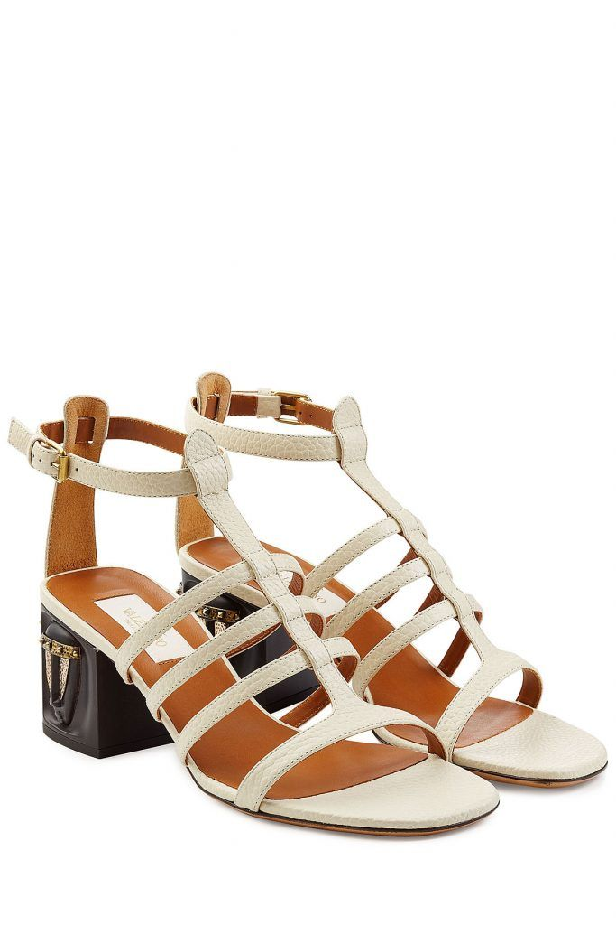 9dddee6dbdaa Leather Sandals with Mask-Adorned Heels - Valentino
