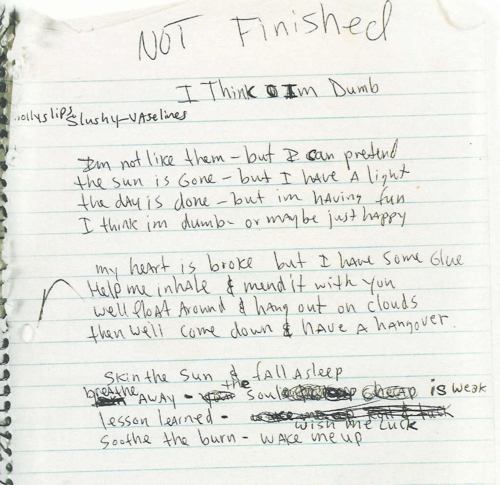 Lyrics to 39 dumb 39 by kurt cobain music is life nirvana musica y arte - Nirvana dive lyrics ...
