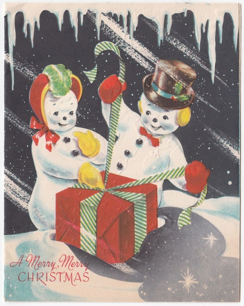 Vintage Greeting Card Christmas Mr & Mrs Snowman Wrapping Gifts An ...