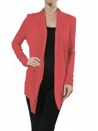 Coral Sheer Cardigan $29 Lightweight, long sleeve, open front ...