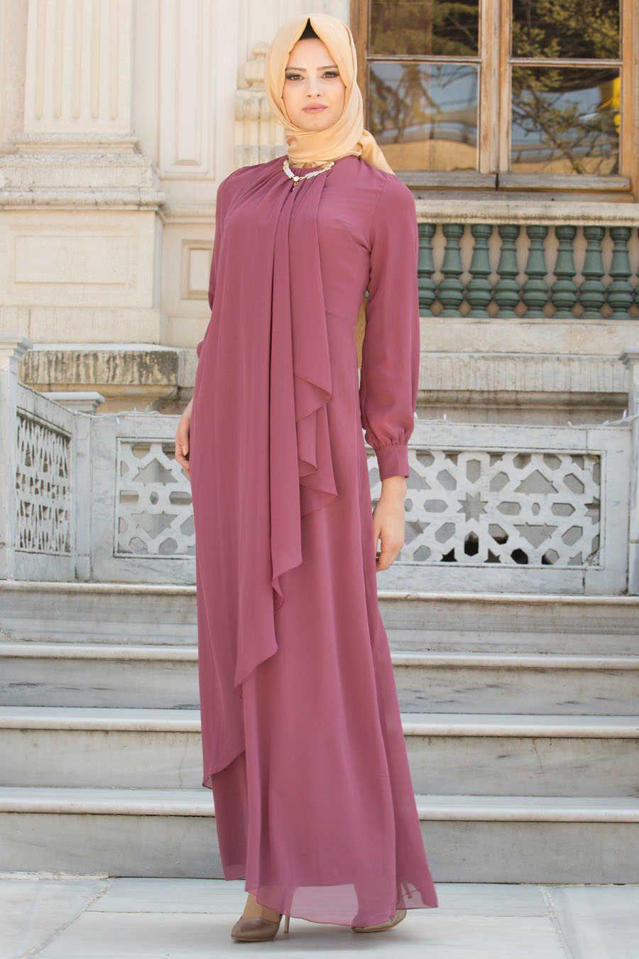 81a3587e6f80 Neva Style - Dusty Rose Hijab Evening Dress 52547GK in 2019   Mom's ...