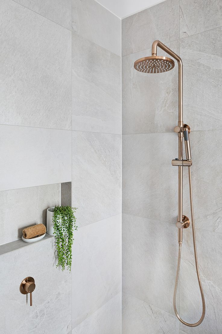 Photo of Round Combination Shower Rail, 200mm Rose, Single Function Hand Shower – Champagne