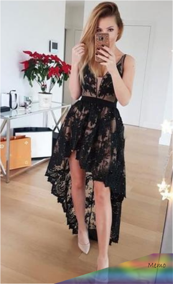 apr 29, 2020 - v-neck black high low lace homecoming