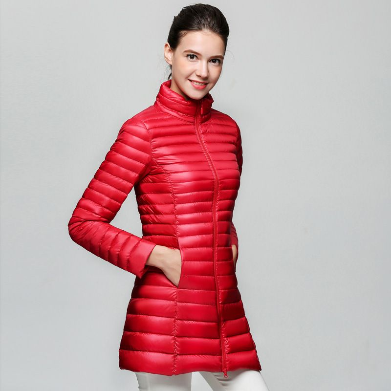 2017 Women Winter Coats White Duck Down Jackets Ultra Light Long ...