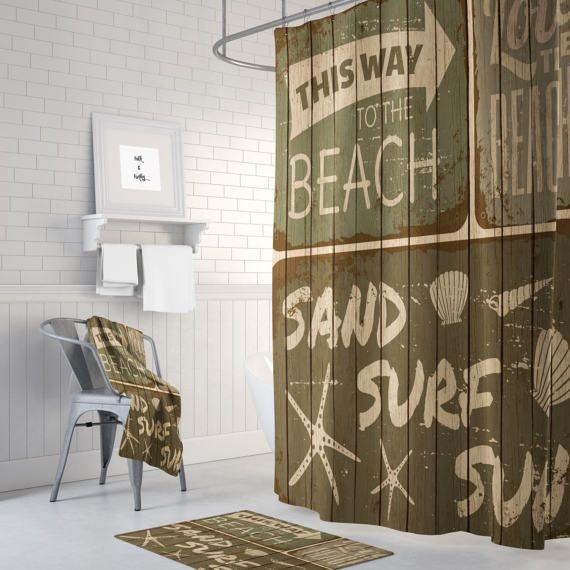 Vintage Brown Beach Shower Curtain Rustic Sign Faux Wood Optional Bath Mat Towels